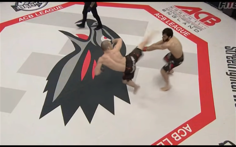 Image for MMA Sucka's 'Knockout of the Month' for February 2017: Dmitriy Shestakov spinning back-kick at ACB 53