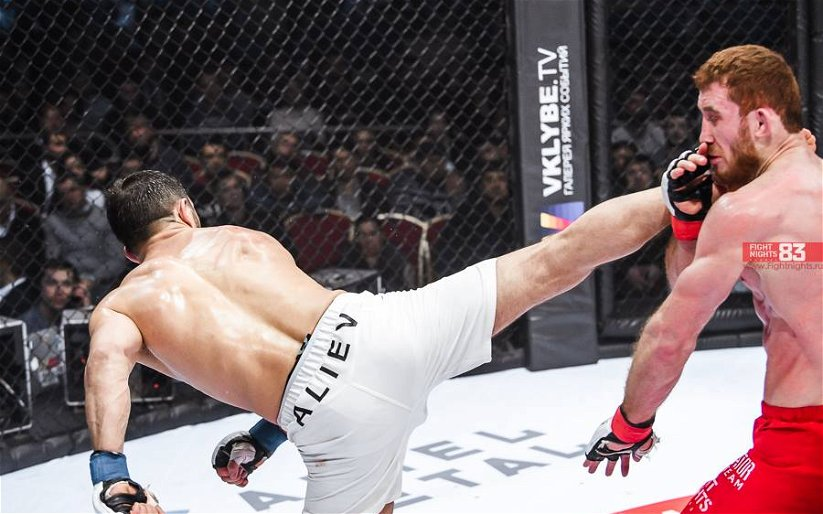 Image for MMASucka's Knockout of the Month for February 2018: Akhmet Aliev wheel-kicks his way to FNG gold